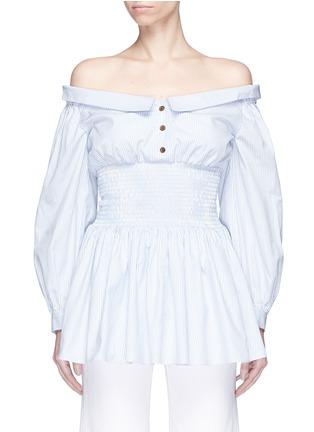 Main View - Click To Enlarge - Sandy Liang - Smocked waist stripe poplin off-shoulder shirt