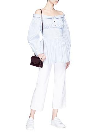 Figure View - Click To Enlarge - Sandy Liang - Smocked waist stripe poplin off-shoulder shirt