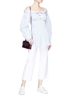 Sandy Liang Smocked waist stripe poplin off-shoulder shirt