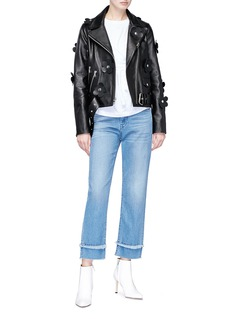 Sandy Liang Studded floral belted leather biker jacket