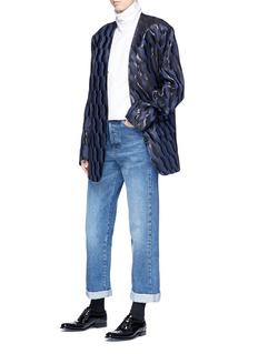 Dries Van Noten 'Bomai' zigzag lamé jacquard oversized suiting jacket
