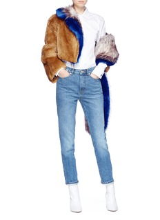Dries Van Noten 'Ferry' asymmetric cropped faux fur jacket