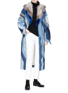 Dries Van Noten 'Rift' detachable faux fur collar patchwork denim jacket