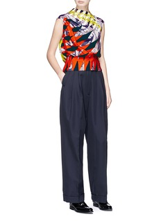 Dries Van Noten 'Charle' mixed print pleated crepe top