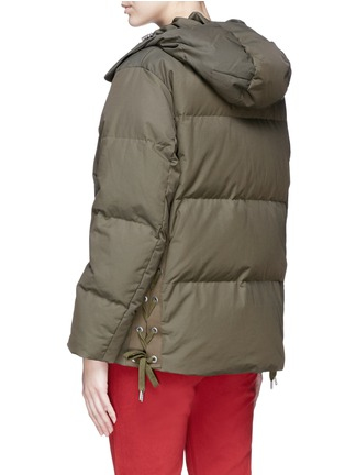 Back View - Click To Enlarge - rag & bone - 'Leonard' lace-up outseam hooded down puffer coat