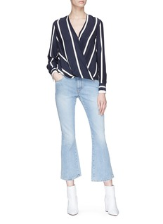 rag & bone 'Victor' stripe mock wrap silk satin top