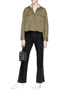 rag & bone 'Mason' lace-up side cropped poplin shirt