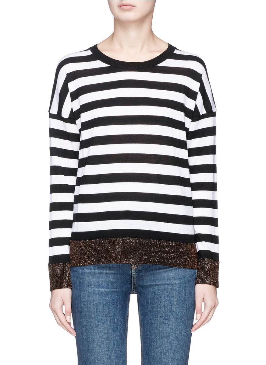 Rag & Bone/jean Woman Wrap-effect Marled Stretch-knit Sweater Black Size S Rag & Bone Supply From China Cheap Price Sale Looking For Buy Online New 0HRdeX
