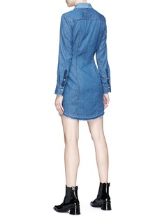 rag & bone/JEAN 'Destroyed Sadie' tie front colourblock chambray dress