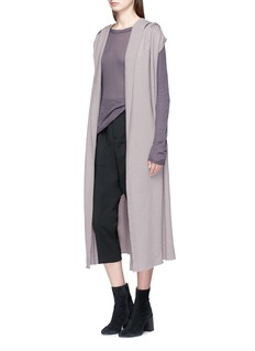 Rick Owens Belted sleeveless hooded open front long cardigan