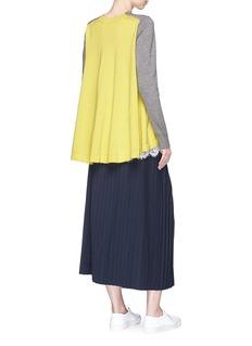 Sacai Lace underlay colourblock wool-cotton cardigan