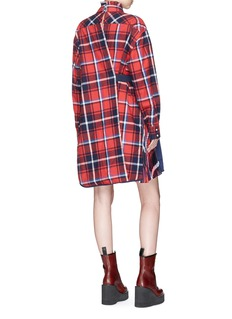 Sacai Belted pleated panel check plaid flannel shirt dress