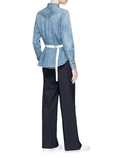Sacai Petersham ribbon belted denim shirt