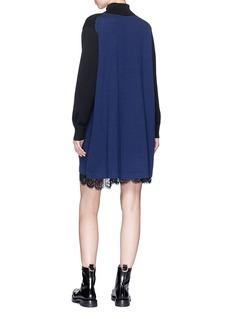 Sacai Lace underlay colourblock turtleneck knit dress