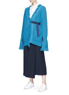 Sacai Petersham belted wool cardigan