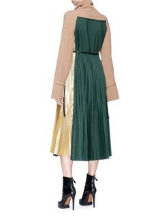 Sacai Drawcord knit yoke pleated poplin dress