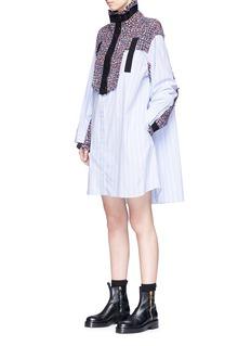 Sacai Tweed yoke bib stripe cotton poplin dress