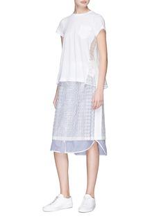 Sacai Lace organdy panelled T-shirt