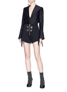 Elissa McGowan 'La Pirate' eyelet crepe shorts