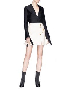 Elissa McGowan 'Cermaique' mixed button bouclé mini skirt