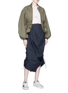 ual: central saint martins | PHVLO Drawcord outseam pleated midi skirt