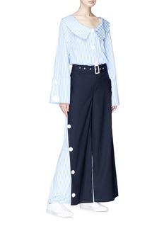 Xiao Li Belted stripe poplin panel wide leg suiting pants