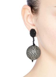 Oscar de la Renta Beaded sphere drop clip earrings