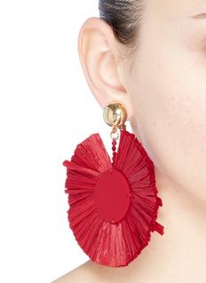 Oscar de la Renta 'Raffia Disk' clip earrings