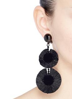 Oscar de la Renta 'Raffia Disk' tiered drop clip earrings