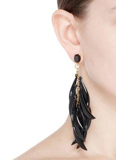 Oscar de la Renta Sickle drop fringe earrings