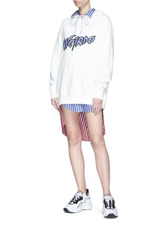 Ground Zero Contrast back pleated stripe poplin shirt dress