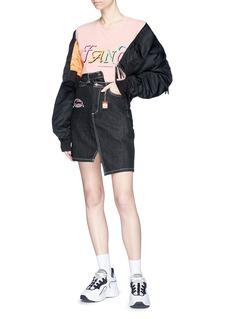 Ground Zero Slogan patch asymmetric denim skirt
