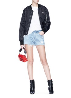 3x1 ''Stripped Shelter' frayed cuff denim shorts
