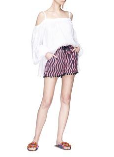 Figue 'Maja' pompom cuff wavy stripe print crepe shorts