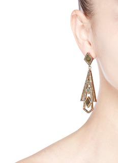 LULU FROST'Odeon' glass crystal gemstone statement drop earrings