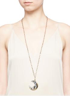 Lulu Frost'Laumière' Swarovski crystal gemstone crescent pendant necklace