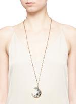 'Laumière' Swarovski crystal gemstone crescent pendant necklace
