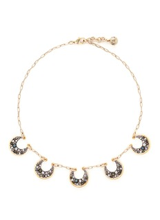 Lulu Frost 'Laumière' Swarovski crystal gemstone crescent necklace