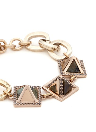Detail View - Click To Enlarge - Lulu Frost - 'Pyramides' mix gemstone crystal pavé pyramid stud bracelet
