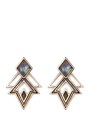 Main View - Click To Enlarge - Lulu Frost - 'Trocadero' mix gemstone geometric cut-out earrings
