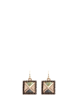 Main View - Click To Enlarge - Lulu Frost - 'Pyramides' amazonite glass crystal earrings