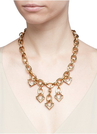 Figure View - Click To Enlarge - Lulu Frost - 'Avron' crystal pavé cutout triangle charm necklace