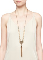 Chatelet' mix gemstone tassel necklace