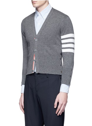 Front View - Click To Enlarge - Thom Browne - Intarsia stripe cashmere cropped cardigan