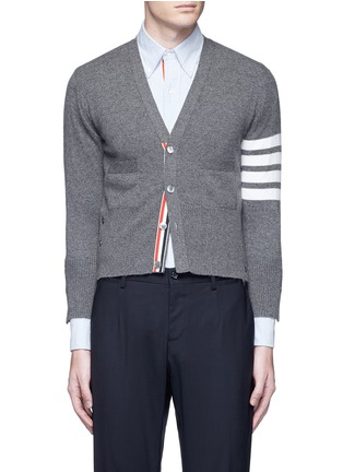 Main View - Click To Enlarge - Thom Browne - Intarsia stripe cashmere cropped cardigan