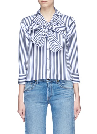 Main View - Click To Enlarge - Alexander White - 'Natalie' bow tie stripe shirt