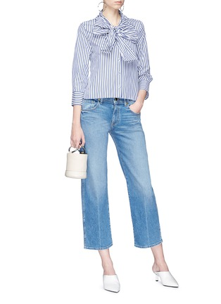 Figure View - Click To Enlarge - Alexander White - 'Natalie' bow tie stripe shirt