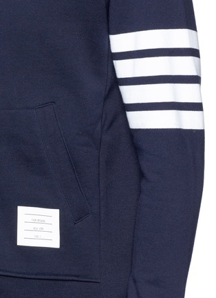 Detail View - Click To Enlarge - Thom Browne - Stripe print cotton zip hoodie
