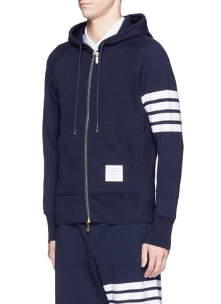 Front View - Click To Enlarge - Thom Browne - Stripe print cotton zip hoodie