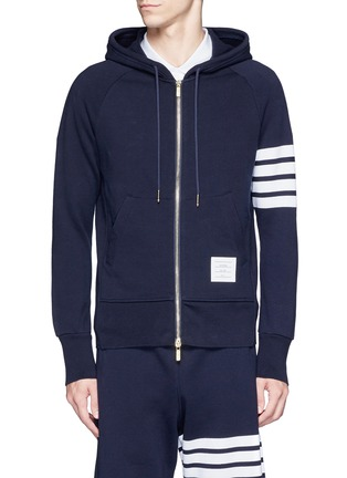 Main View - Click To Enlarge - Thom Browne - Stripe print cotton zip hoodie